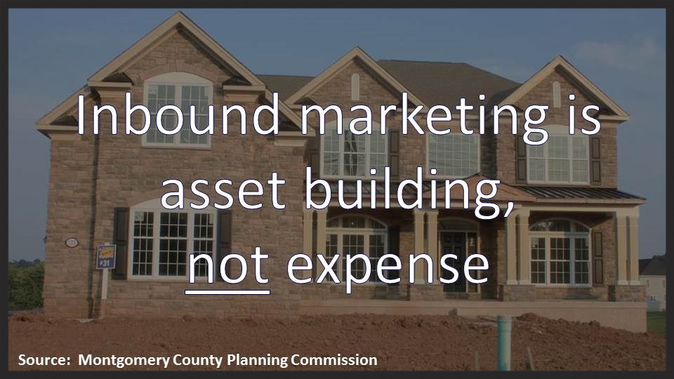 Inbound content creation is not an expense. Inbound marketing is asset building.