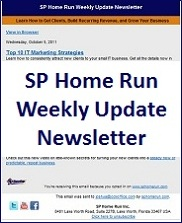 SP Home Run Weekly Update Newsletter - November 2, 2011