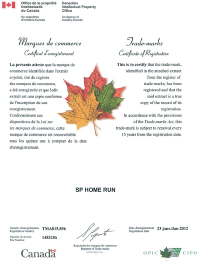 SP Home Run registered trademark Canadian Intellectual Property Office CIPO-p1