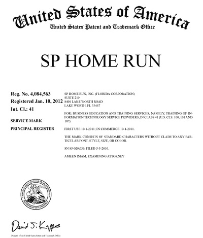 SP Home Run registered trademark United States Patent and Trademark Office USPTO