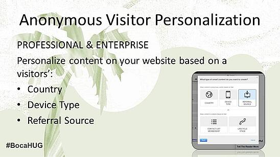 Personalization for first time anonymous website visitors